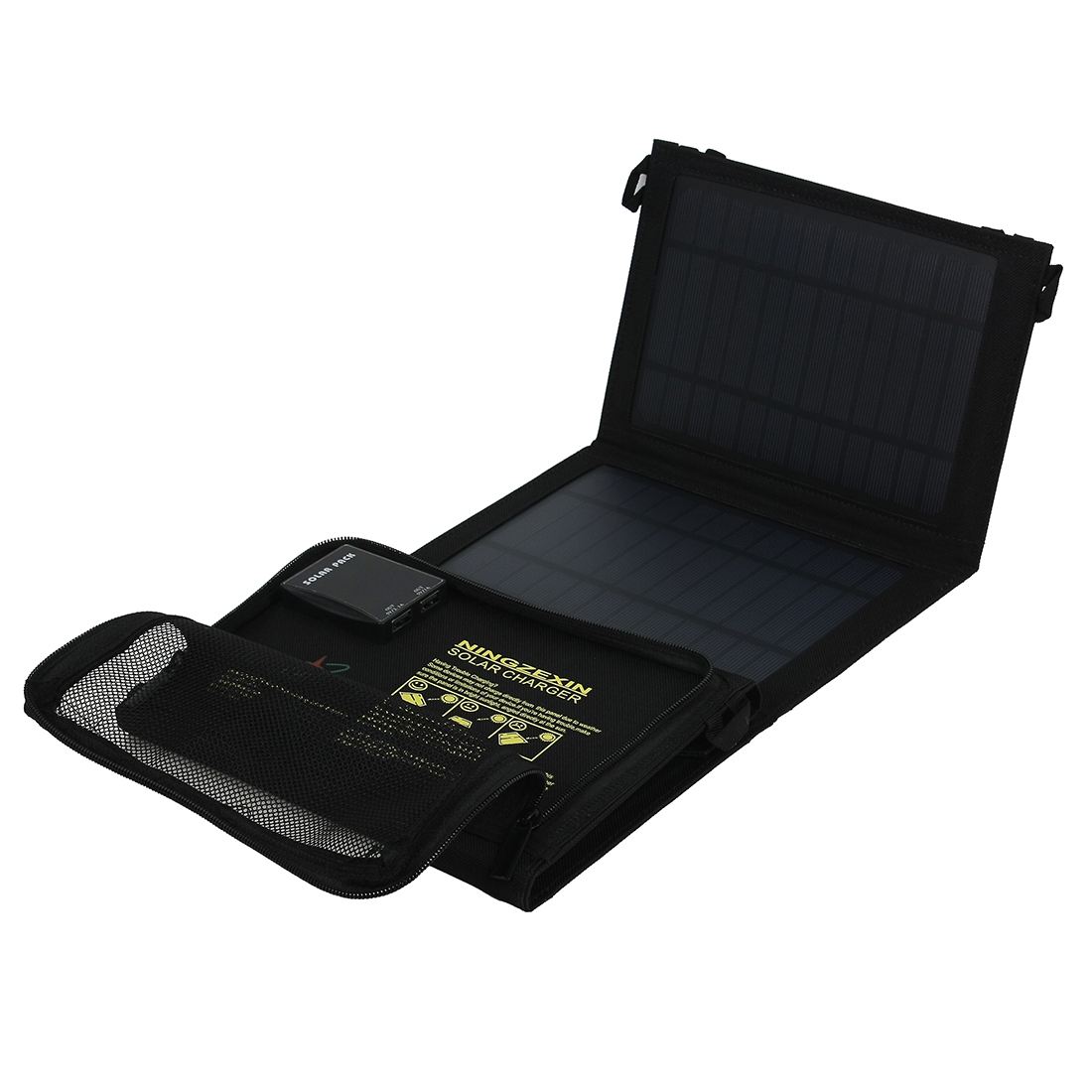 14W One Ports USB Foldable Solar Panel Charger for Smart Phone Portable Pad More Black