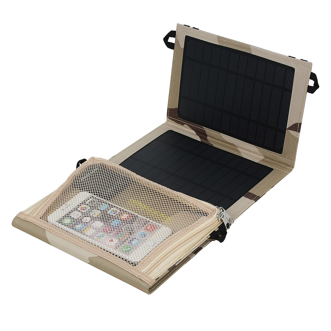 14W One Ports USB Foldable Solar Panel Charger for Smart Phone Portable Pad More Camouflage