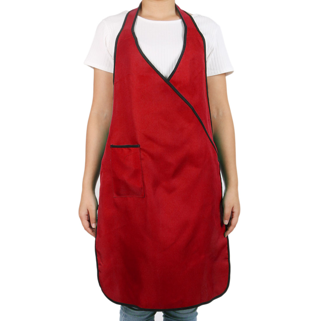 Home Kitchenwre Nylon Patch Pocket Resistant Oil Water Cooking Bib Apron Red