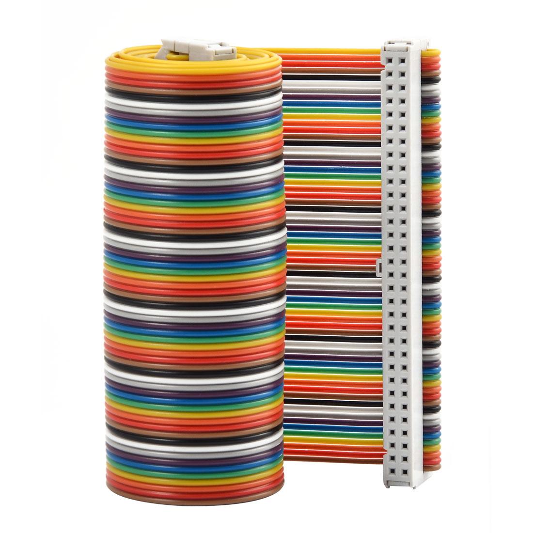 F/F 66cm 64-Pin Flat Jumper Wire Ribbon Cable Strip Connector Multicolor