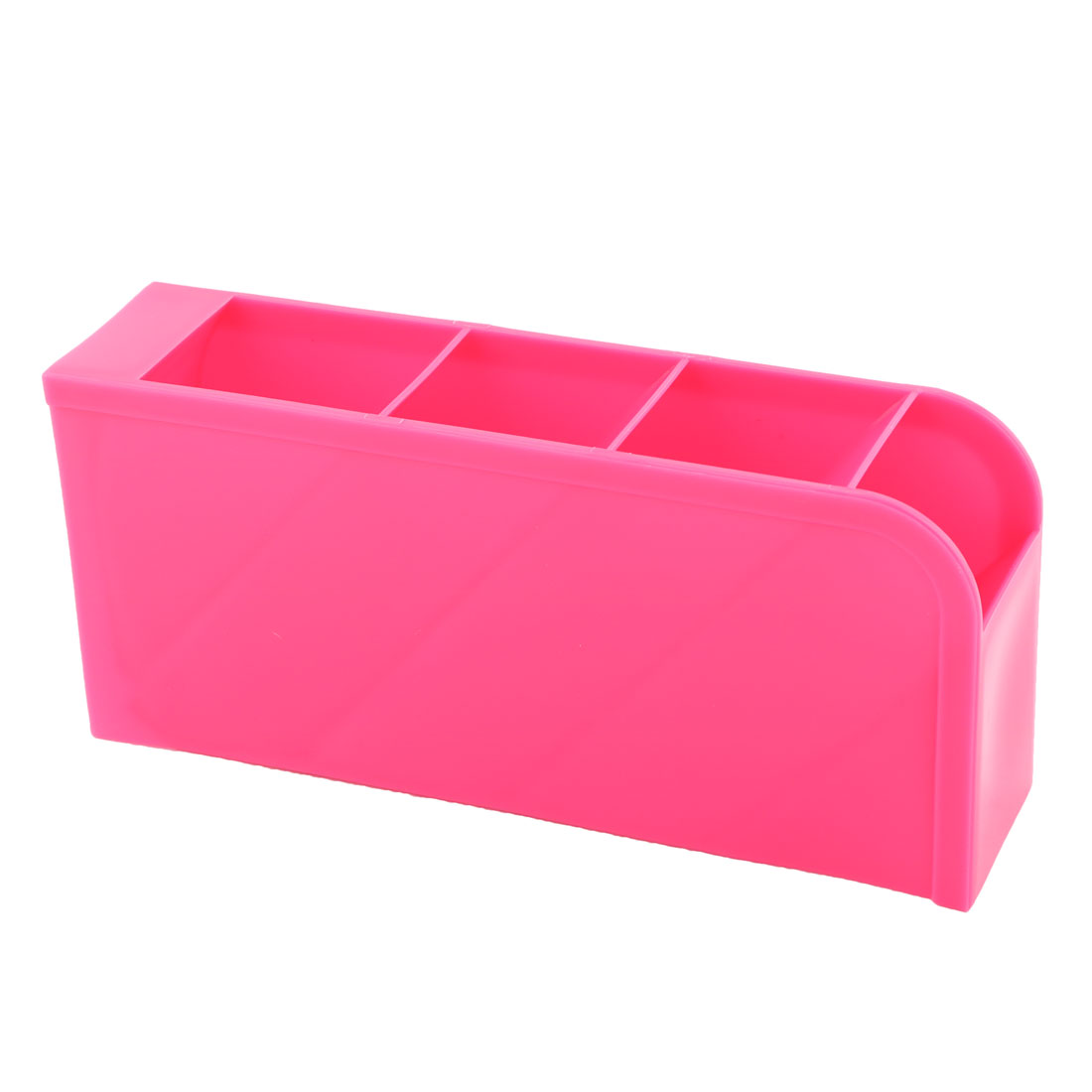 Household Bedroom Plastic Desktop 4 Slots Makeup Tool Holder Storage Box Case Fuchsia