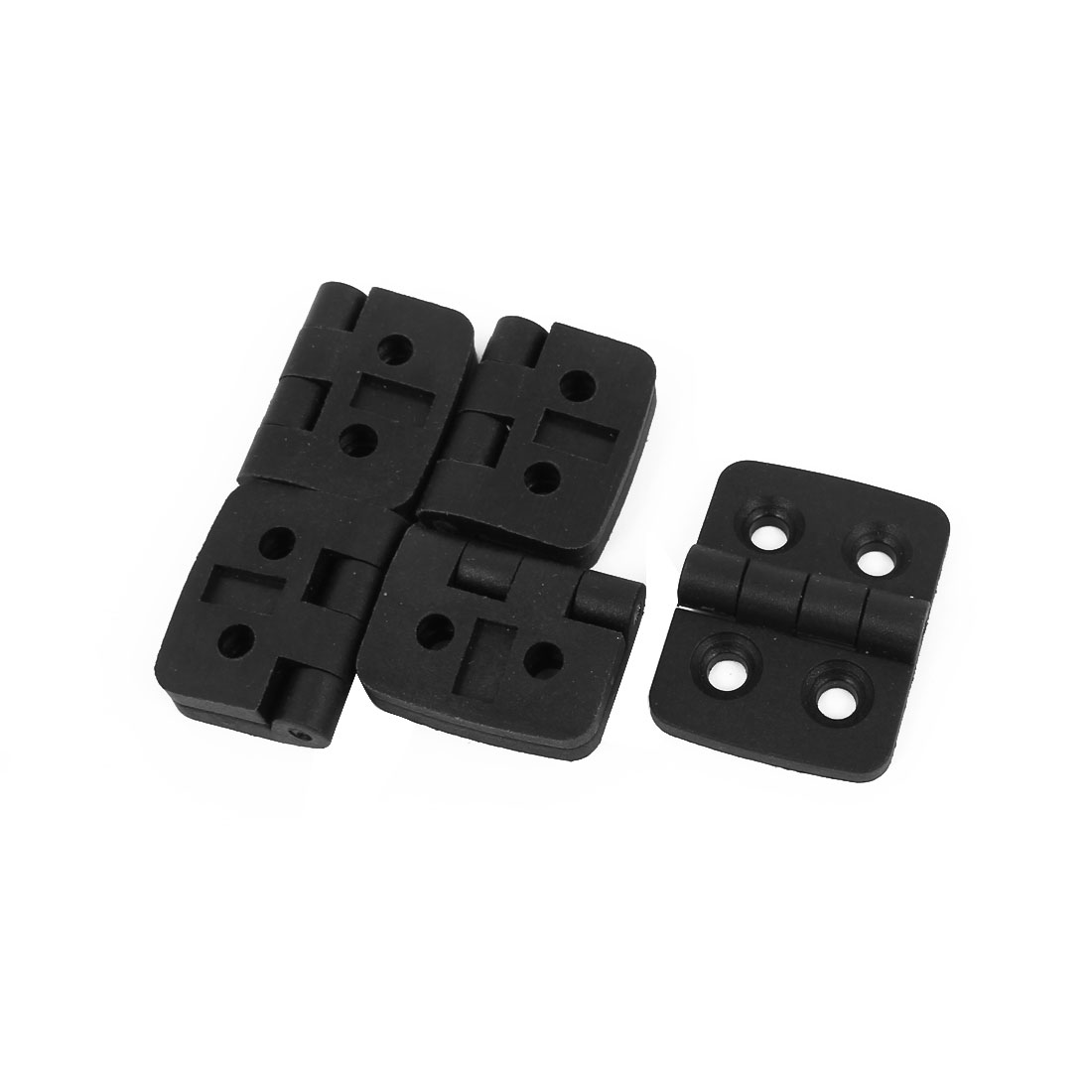 41mmx31mmx9mm Plastic 4 Countersunk Holes Ball Bearing Butt Hinge Black 5pcs