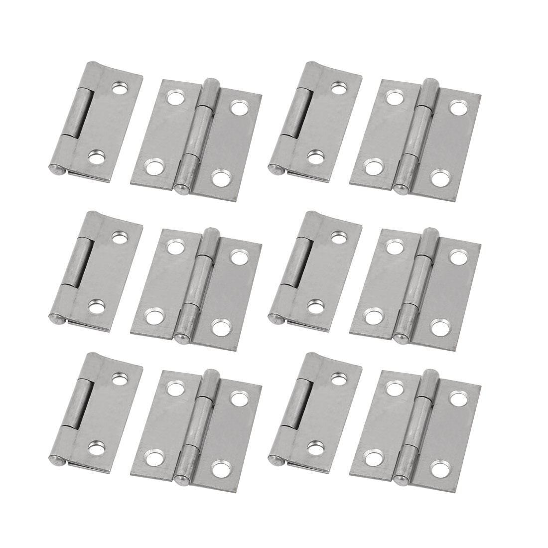 Home Furniture Wardrobe Cabinet 1.5 Inches Iron Door Butt Hinge Silver Tone 12pcs