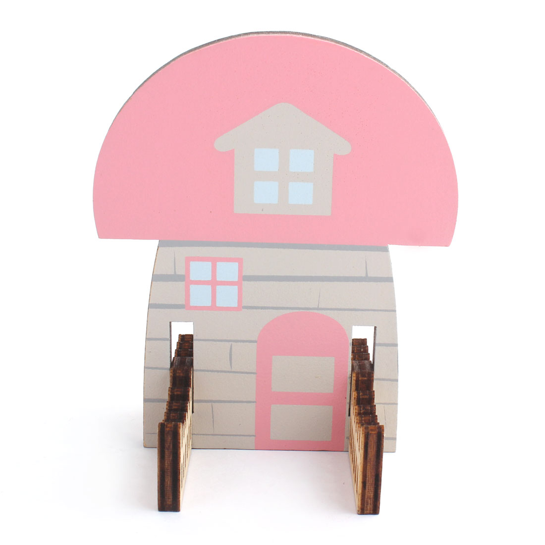Wooden Mushroom House Shaped Desk Desktop Stand Holder Stander Support for Mobile Phone