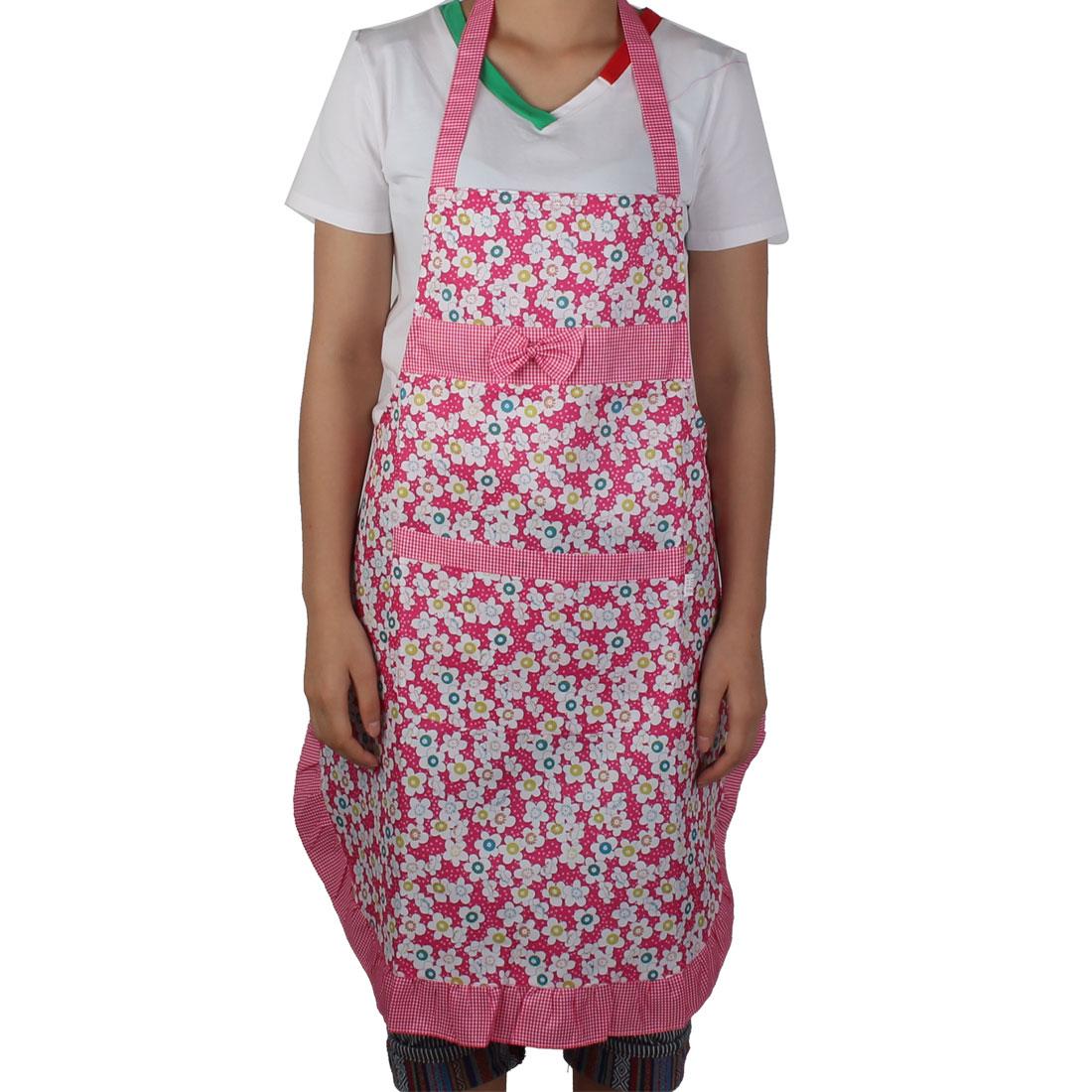Chefs Household Restaurant Kitchen Working Flower Printed Bowknot Design Apron Bib Pocket Dress Multicolor