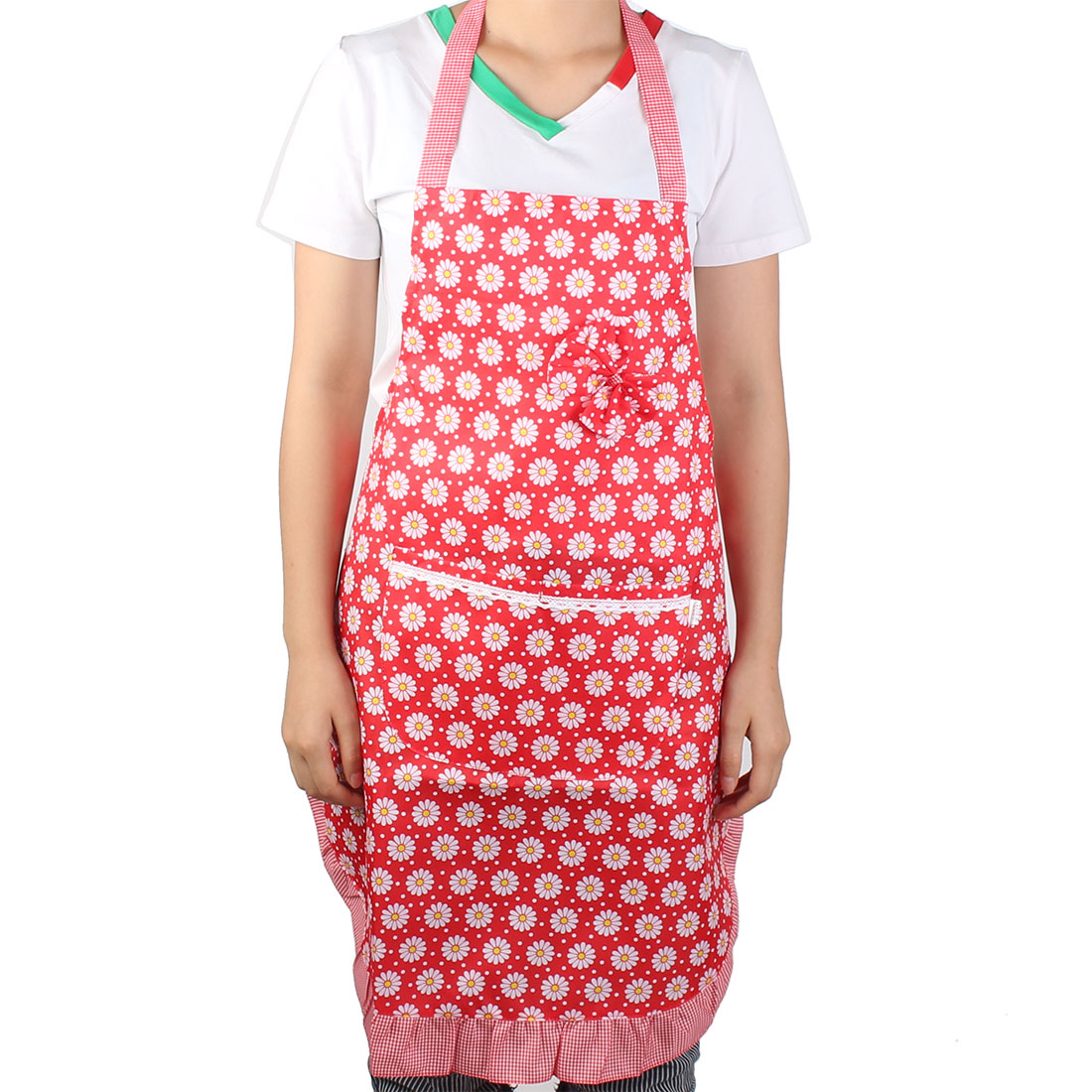 Chef Restaurant Kitchen Cooking Floral Printed Bow Apron Self Tie Bib Pocket Dress Red White