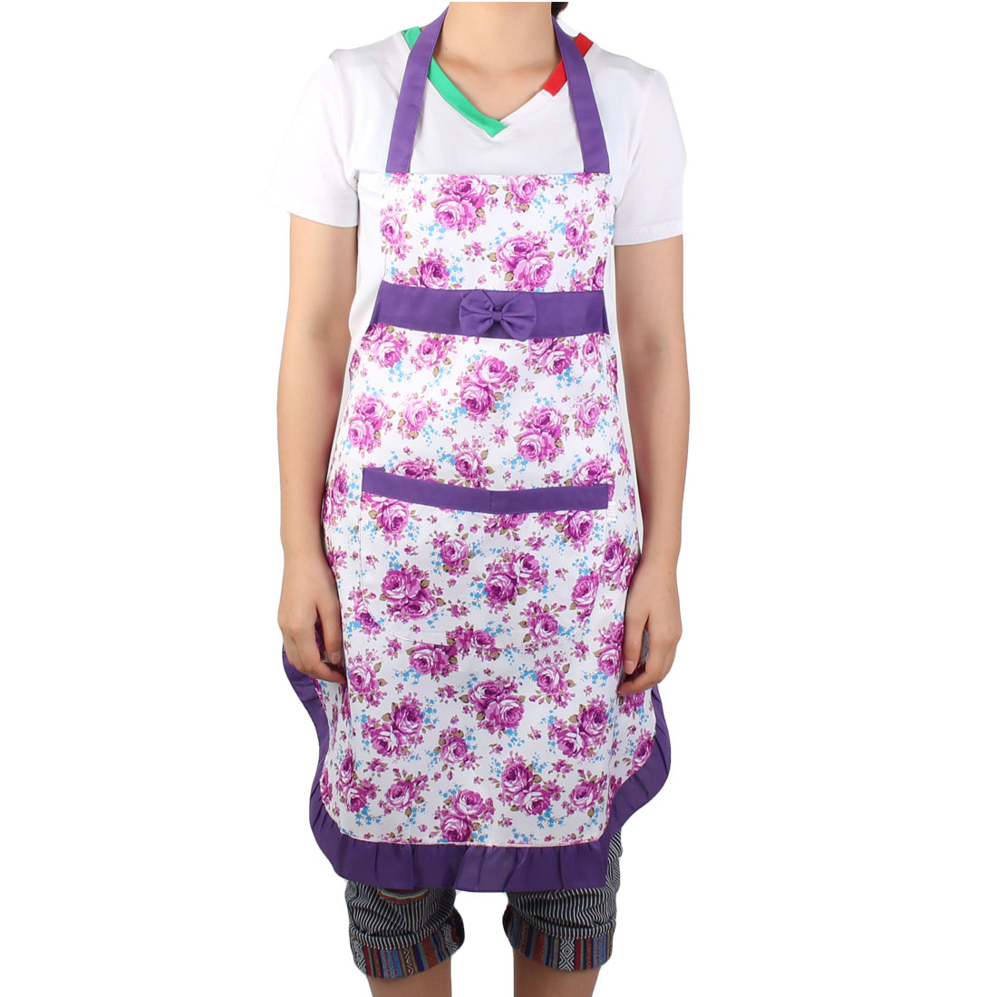 Restaurant Kitchen Flower Printed Bow Housework Cooking Apron Bib Pocket Dress White Purple