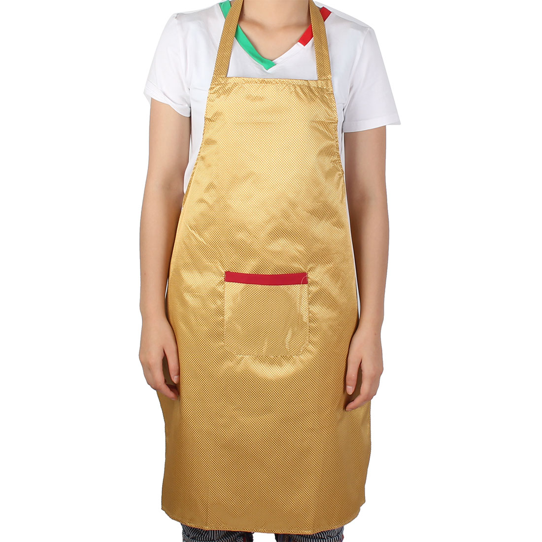Woman Hotel Restaurant Coffee Shop Cooking Dress Pocket Apron Gold Tone