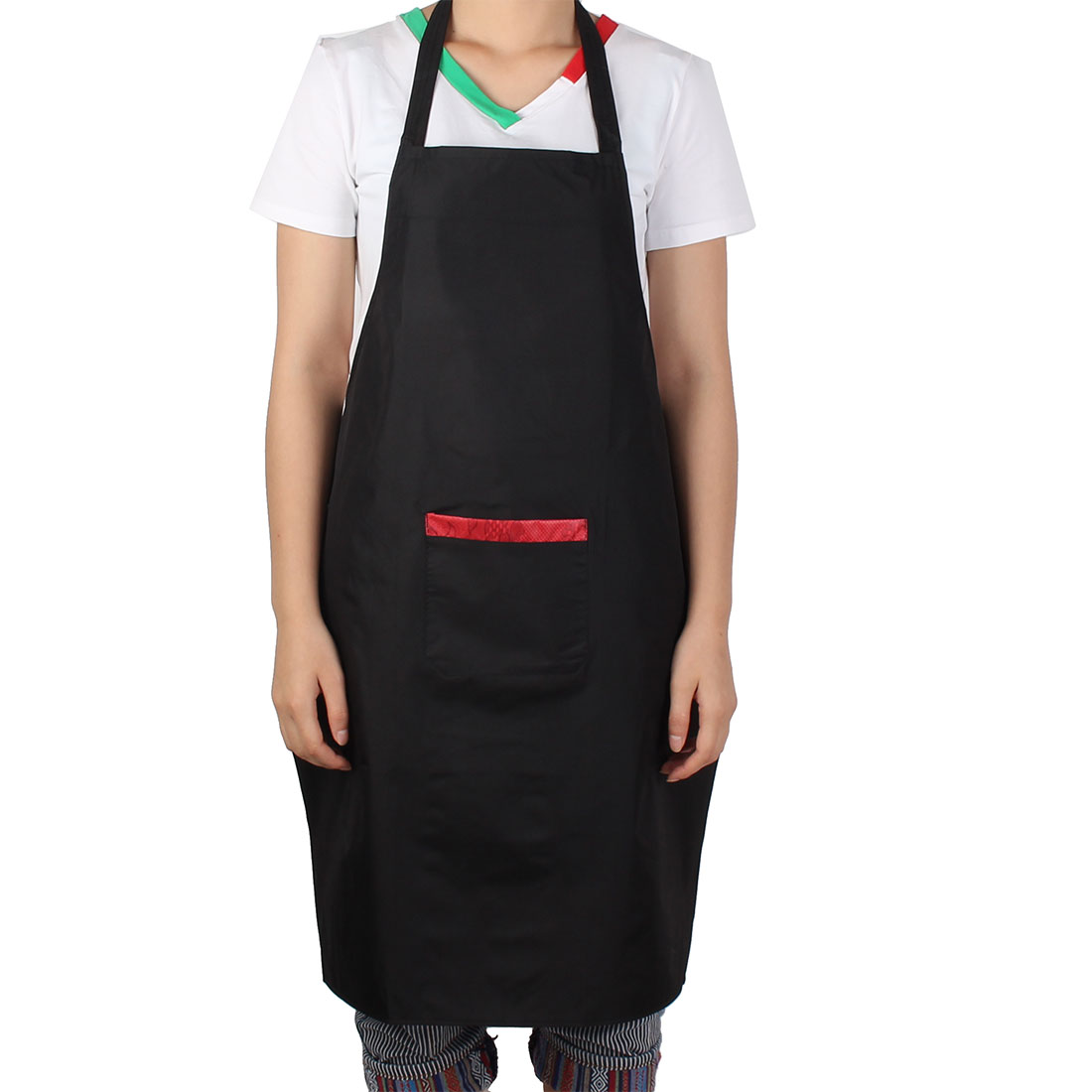 Home Hotel Restaurant Cafe Fruit Shop Single Bib Pocket Self Tie Strap Apron Black Red