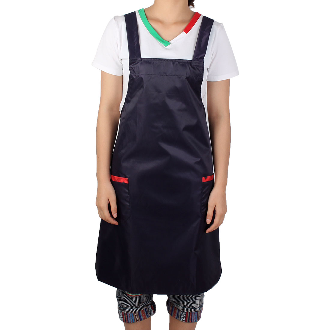 Unisex Household Hotel Kitchen Cafe Working Dress Patch Pocket Self Tie Bib Apron Black Red