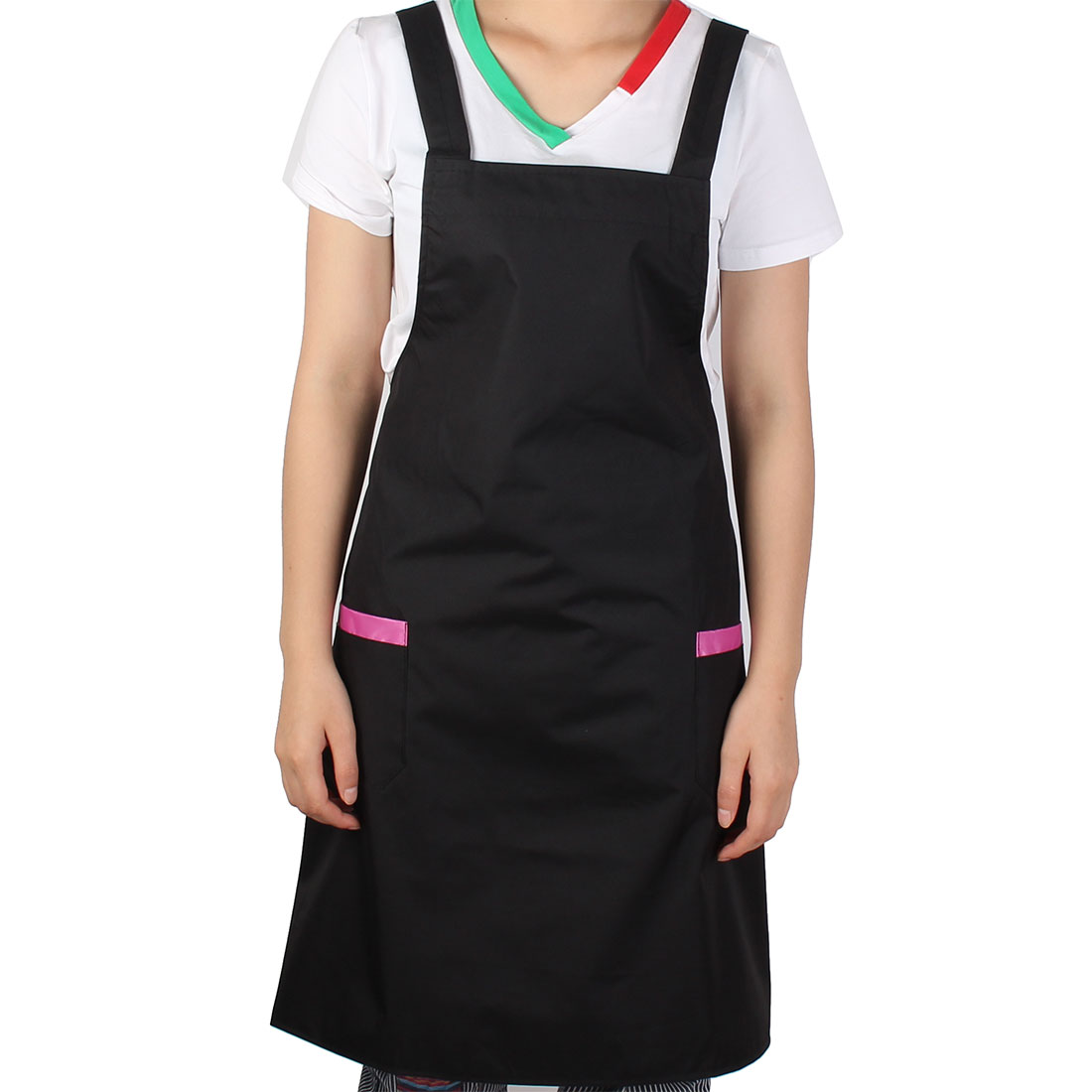 Lady Hotel Restaurant Coffee Shop Cooking Dress Pocket Apron Black Pink