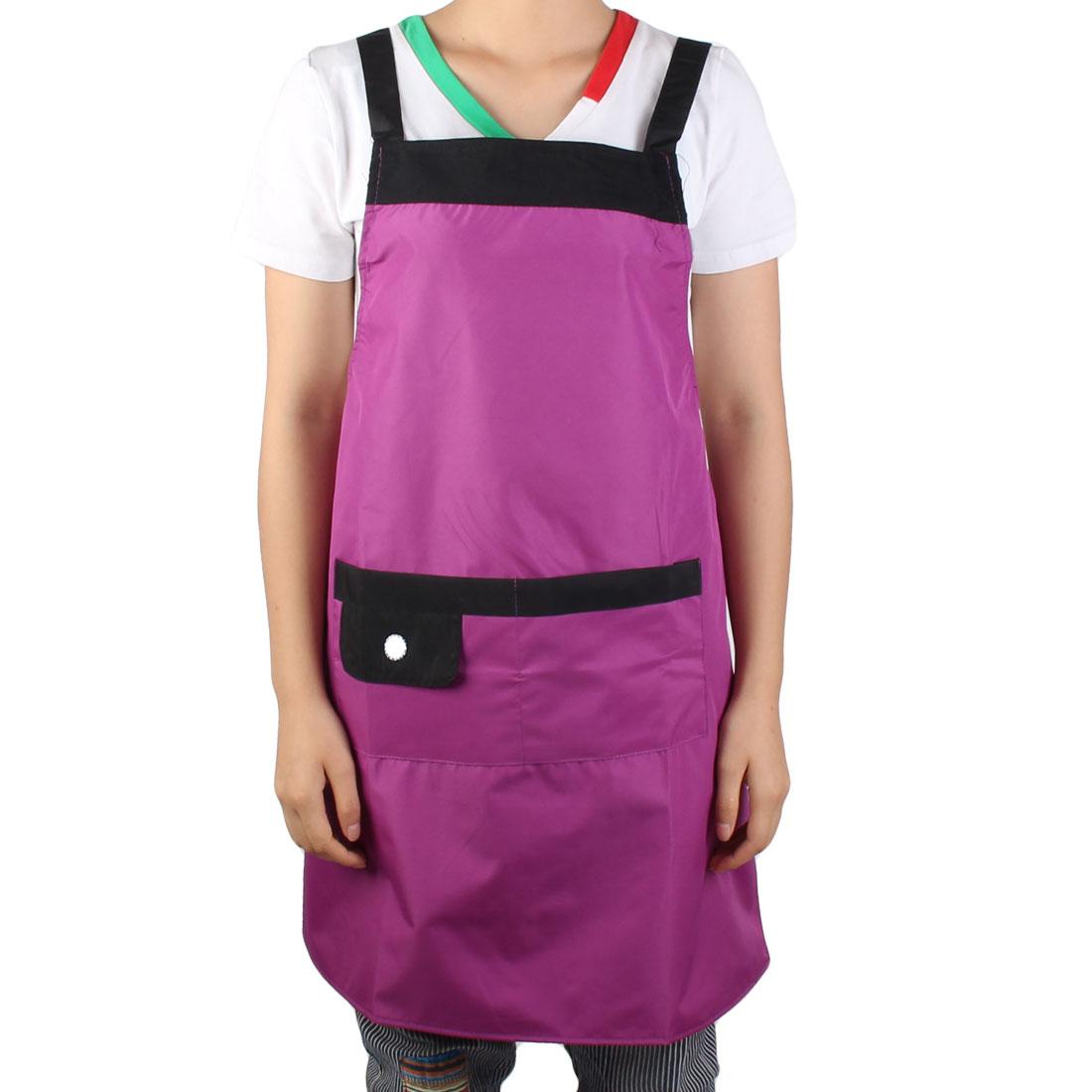 Ladies Washable Hotel Kitchen Restaurant Cafe Cooking Dress Bib Pocket Apron Royal Purple Black