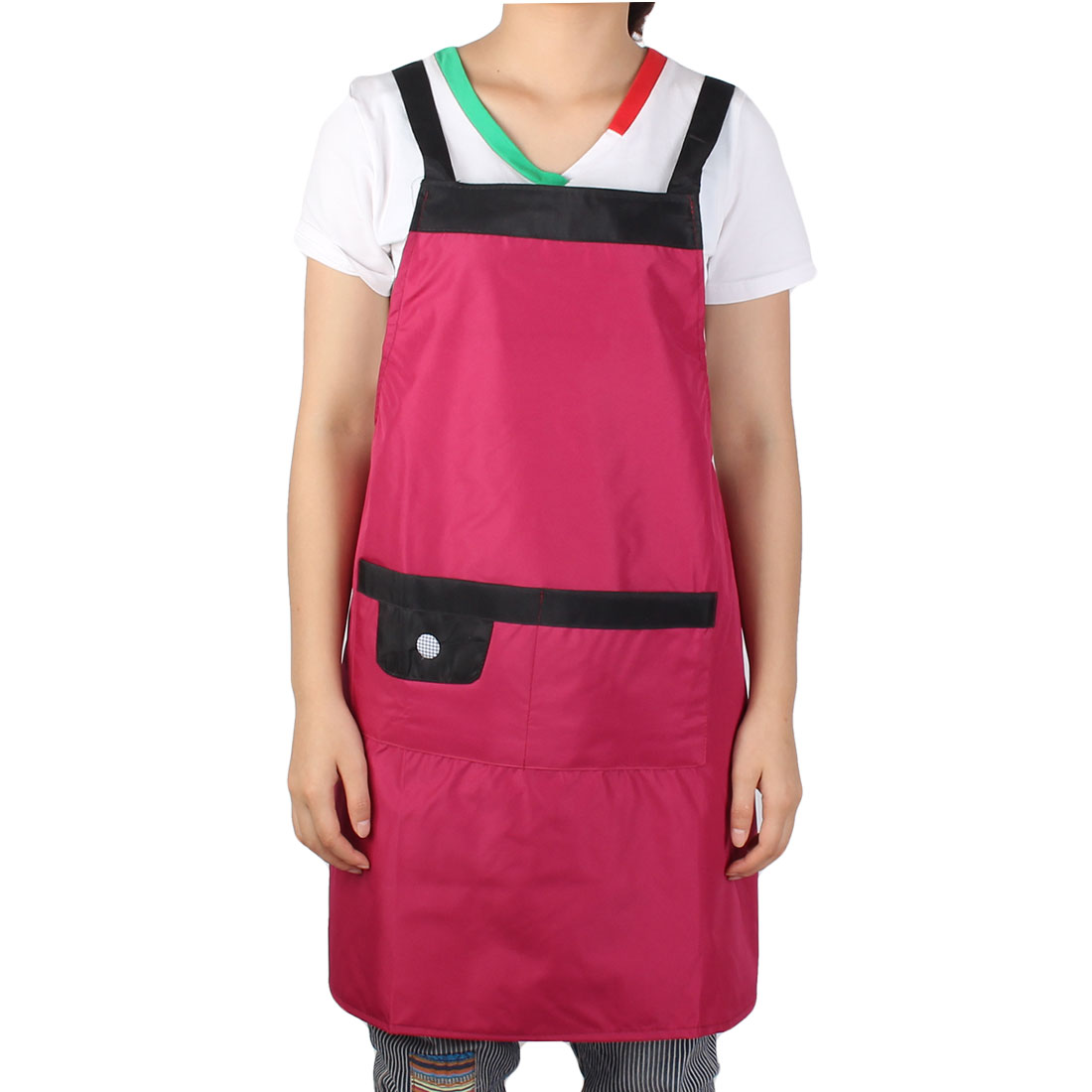 Hotel Restaurant Coffee Baking Cooking Shop Dress Apron Bib Pocket Burgandy