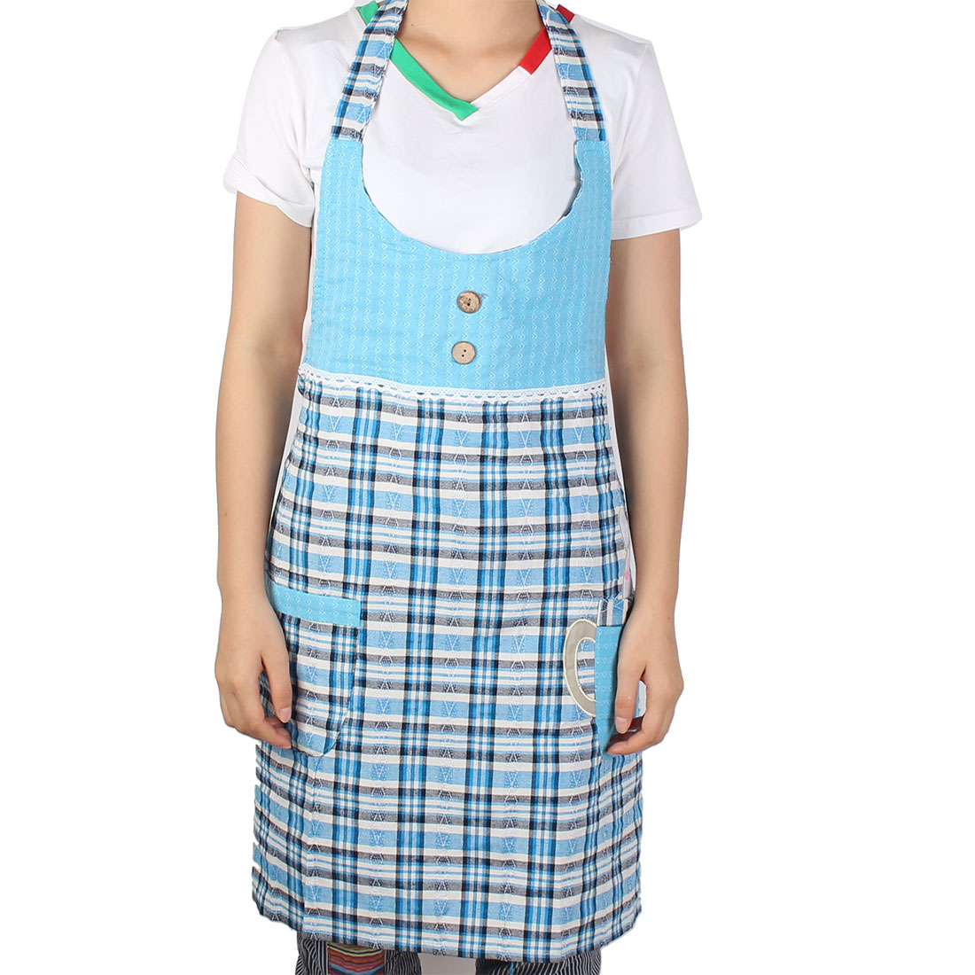 Chef Restaurant Cooking Baking Check Pattern Button Design Apron Rabbit Bib Pocket Blue