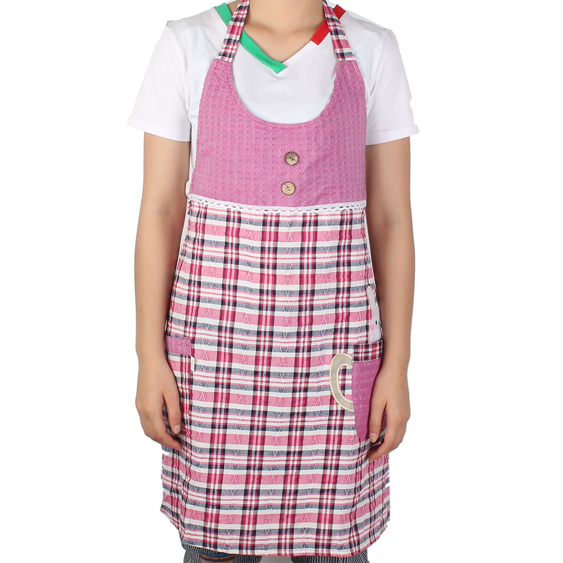 Chef Household Restaurant Kitchen Baking Cleaning Check Pattern Button Design Apron Rabbit Bib Pocket Dress