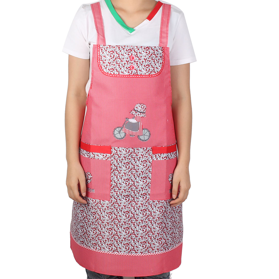 Home Kitchen Restaurant Bib Cooking Baking Pocket Apron For Woman
