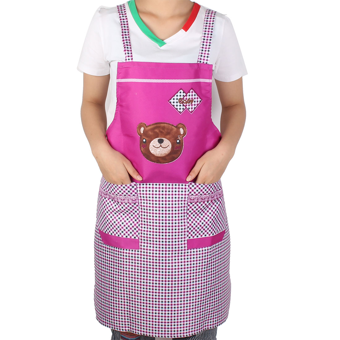 Household Kitchen Dining Bar Cartoon Printed Check Pattern Double Front Pocket Bib Dress Apron Purple