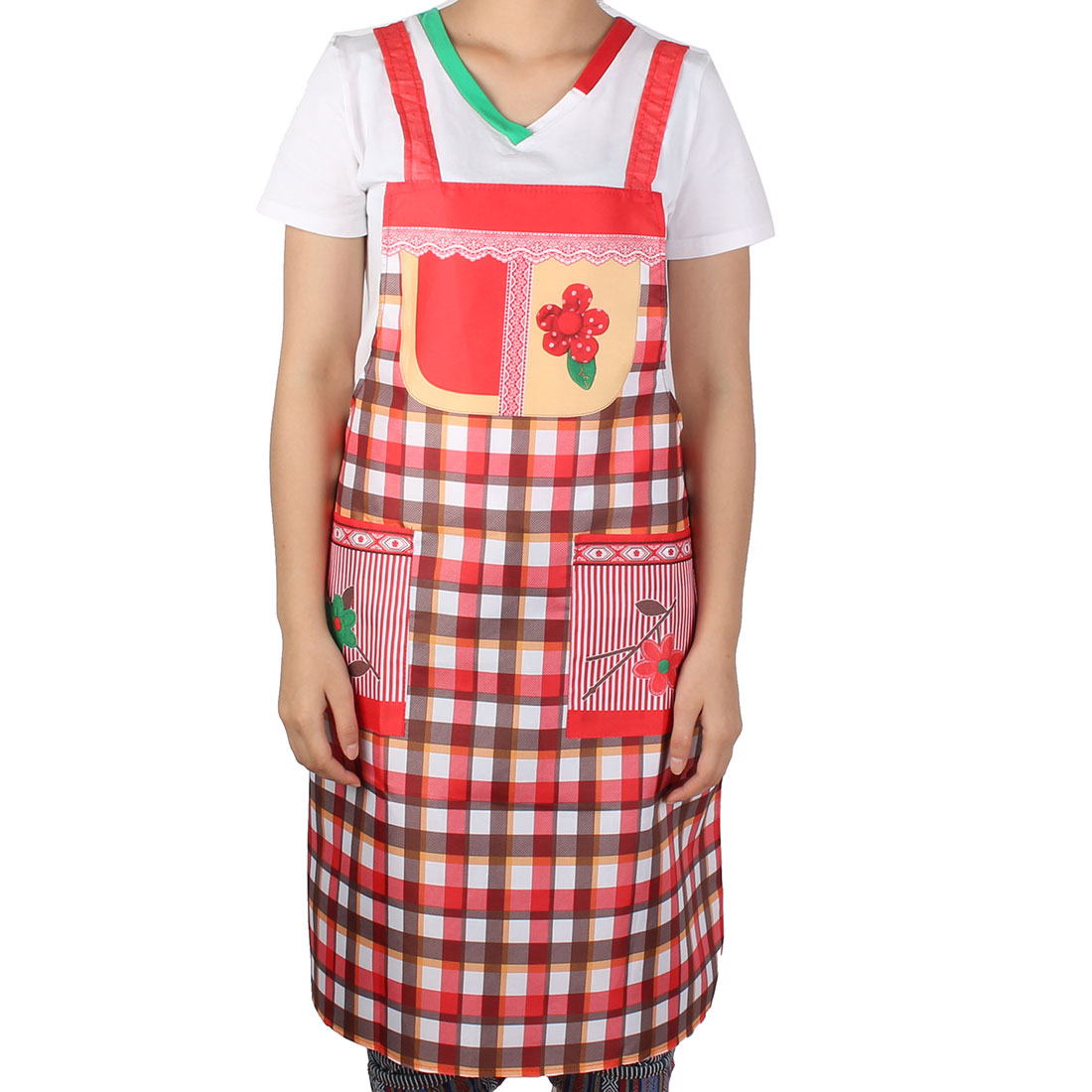 Woman Hotel Coffee Fruit Shop Flower Printed Check Patern Dress Pocket Apron Bib Multicolor