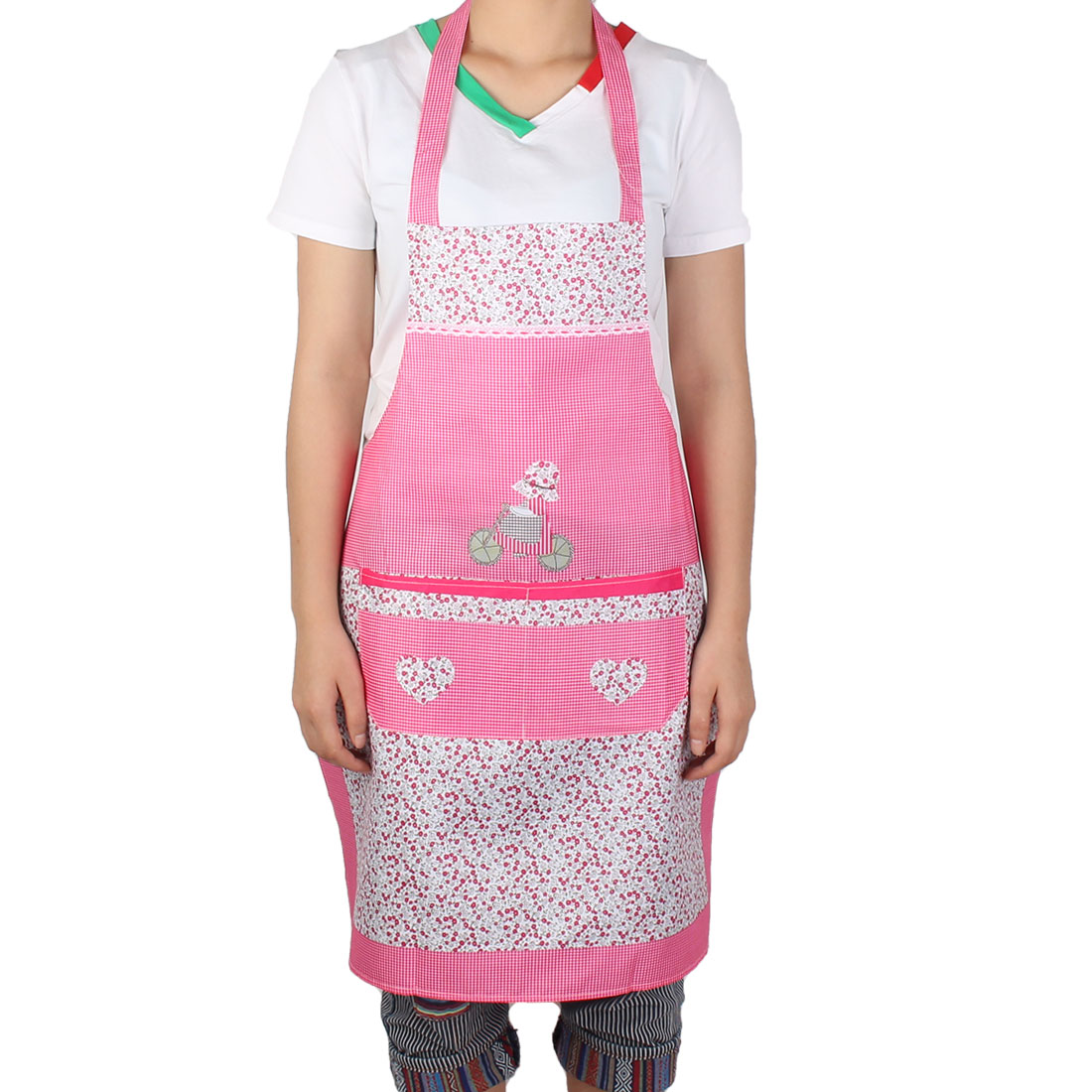 Household Kitchen Cooking Water Resistant Girl Flower Printed Grid Pattern Apron Front Pocket Pink