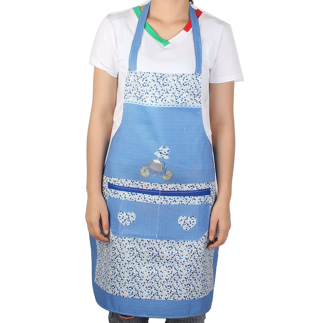 Women House Kitchen Bar Flower Printed Cooking Baking Bib Pocket Apron