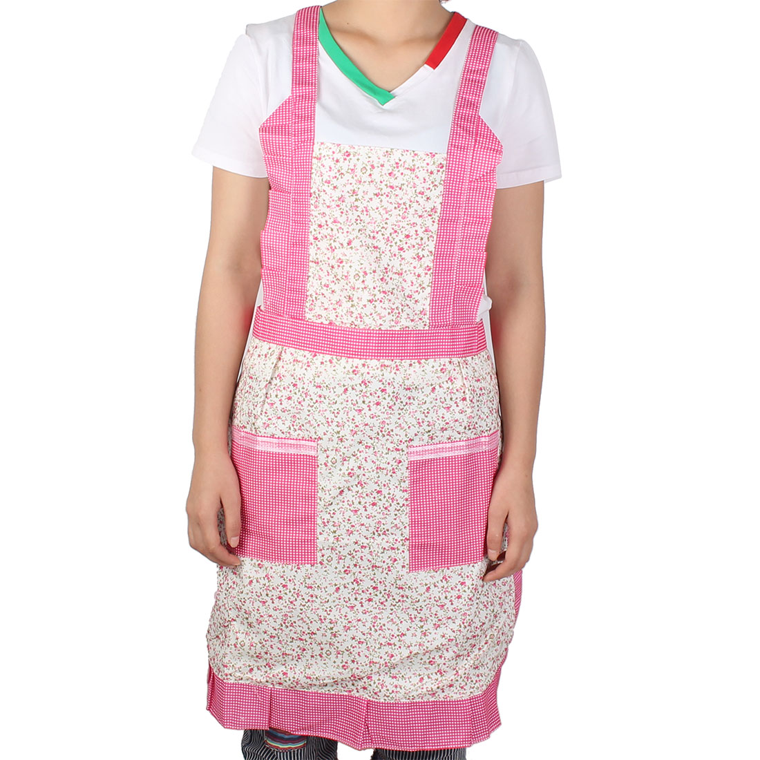 Lady Home Kitchen Dining Bar Floral Pattern Double Front Pocket Apron Pink