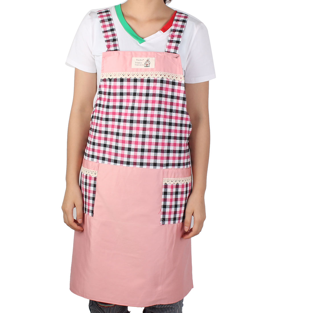 Housewife Kitchen Dining Bar Check Pattern Pocket Apron Multicolor
