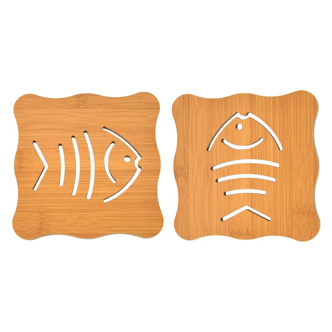 Bamboo Hollow Fishbone Design Heat Resistant Pot Cup Mat Cushion 2 Pcs