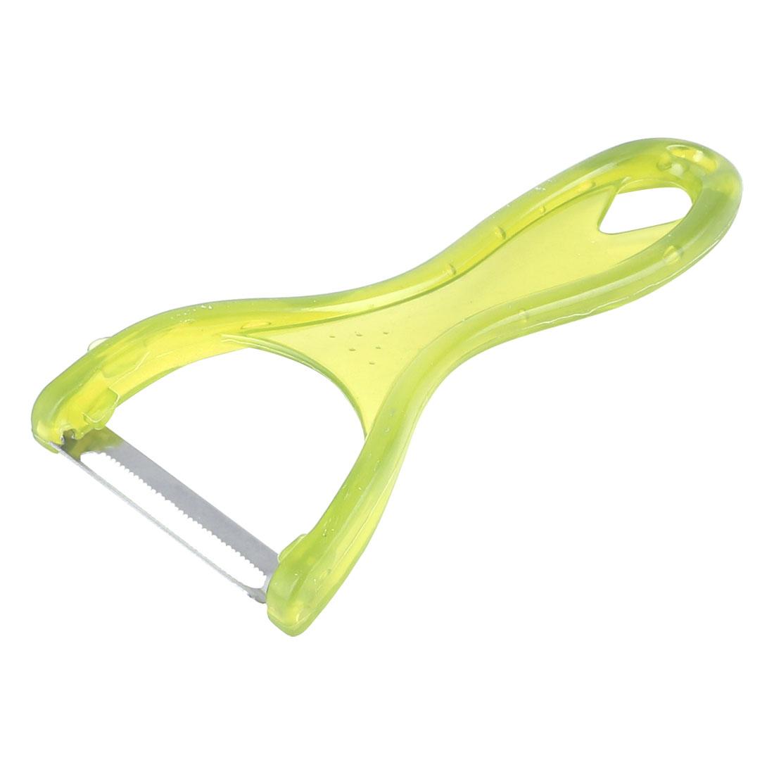 Plastic Handgrip Fruits Vegetables Slicer Peeler Parer Julienne Green