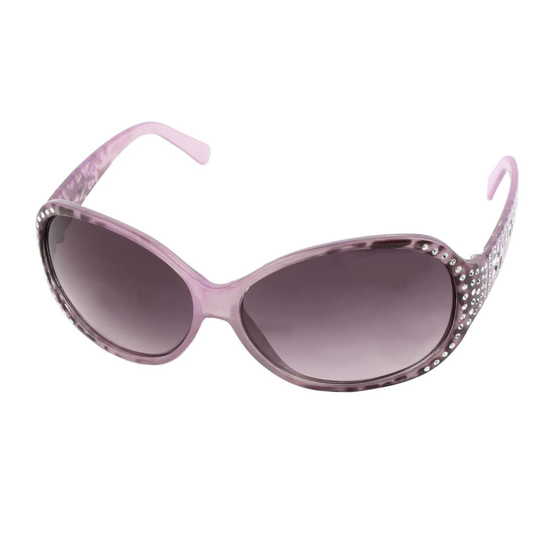 Women Faux Rhinestone Detail Teardrop Lens Eyewear Sunglasses Shade Purple