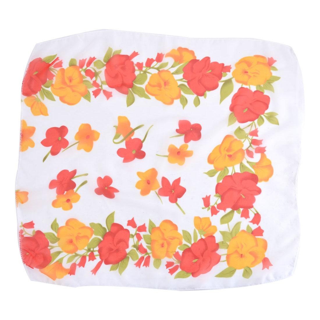 Women Ladies Flower Pattern Neck Head Kerchief Scarf White 50cm x 50cm