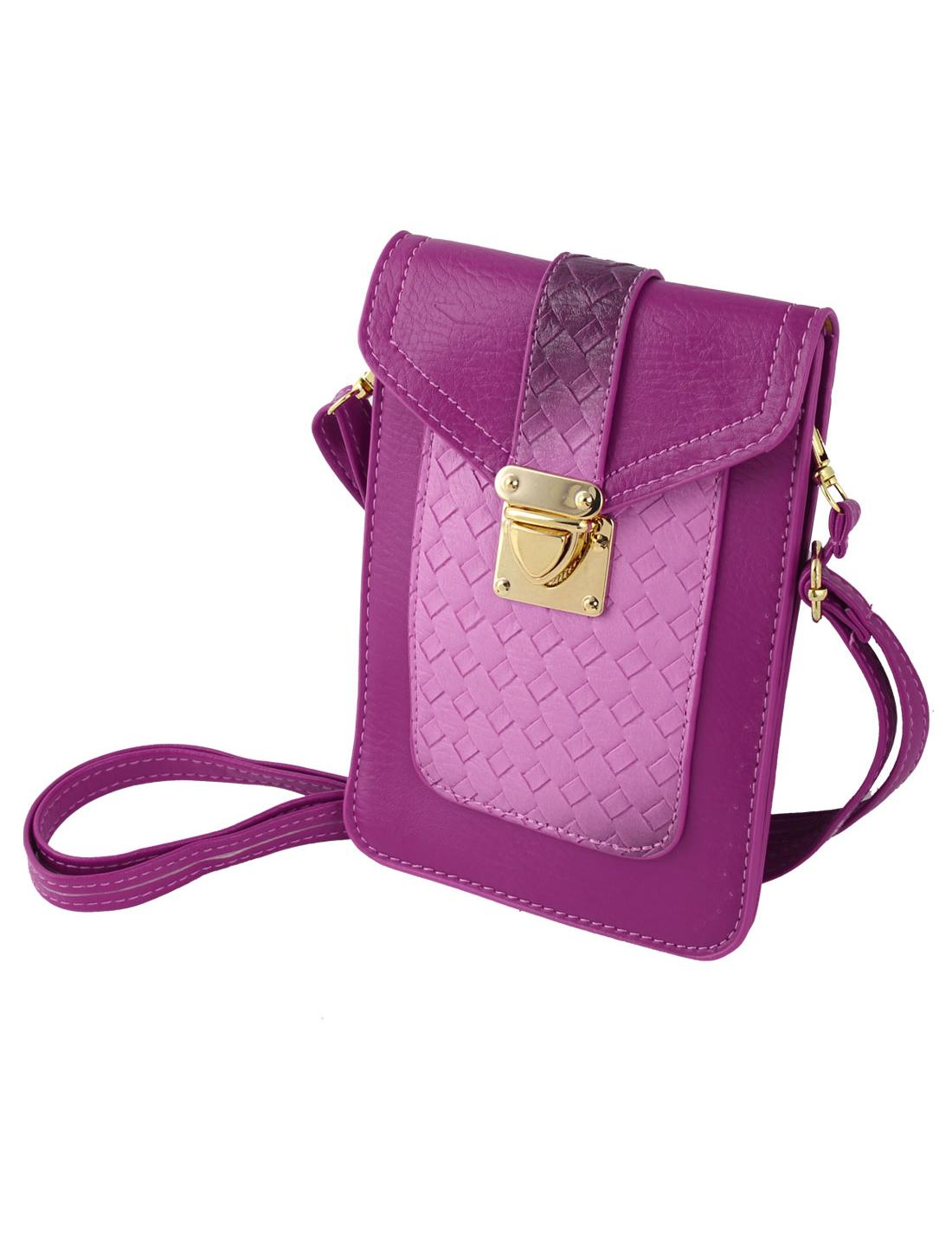 Women Ladies Faux Leather Cross Body Shoulder Bag Handbag Coin Purse Purple
