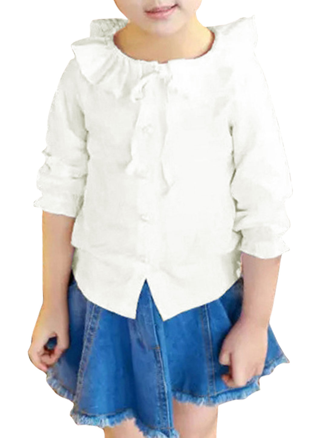 Girls Pleated Turn Down Collar Self Tie Front Blouse White 4