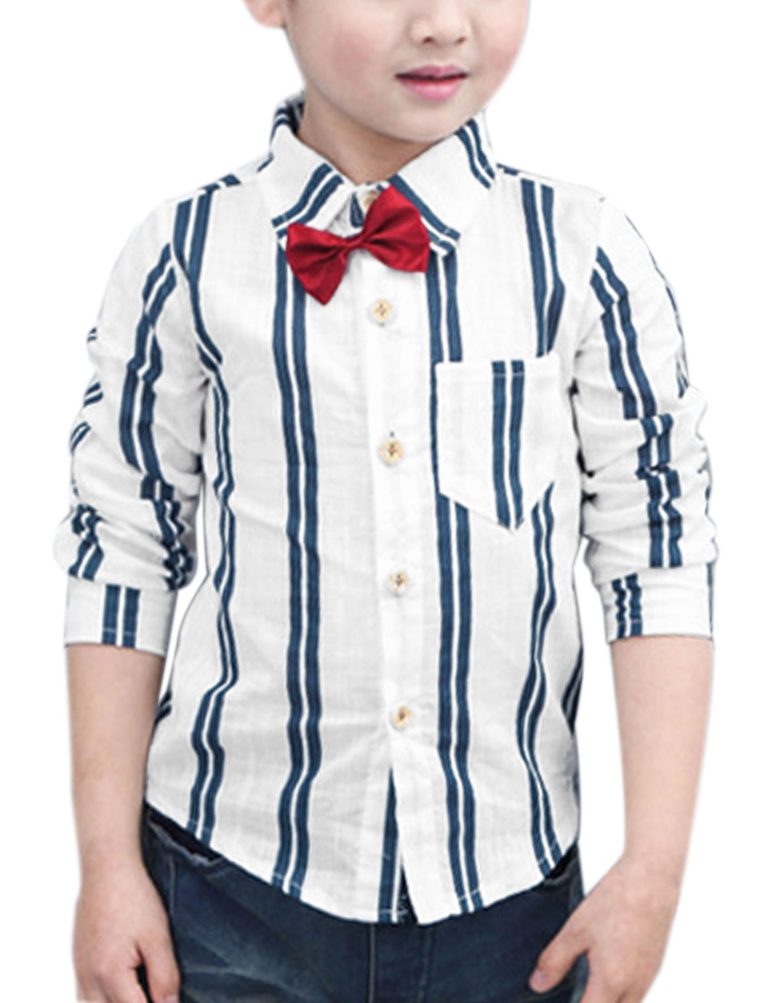 Boys One Pocket Bowknot Brooch Decor Stripes Shirt Blue 7