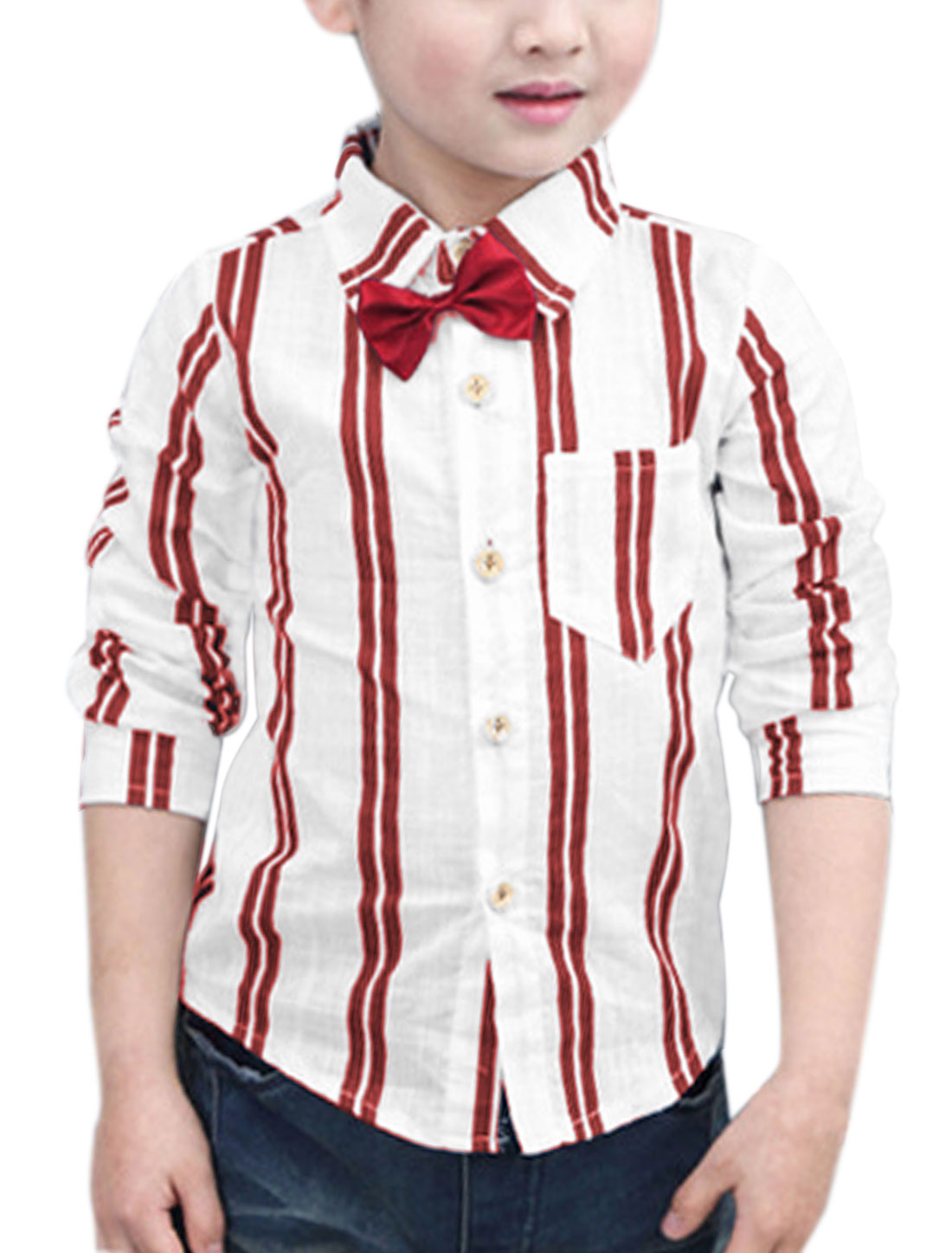 Boys One Pocket Bowknot Brooch Decor Stripes Shirt Red 7