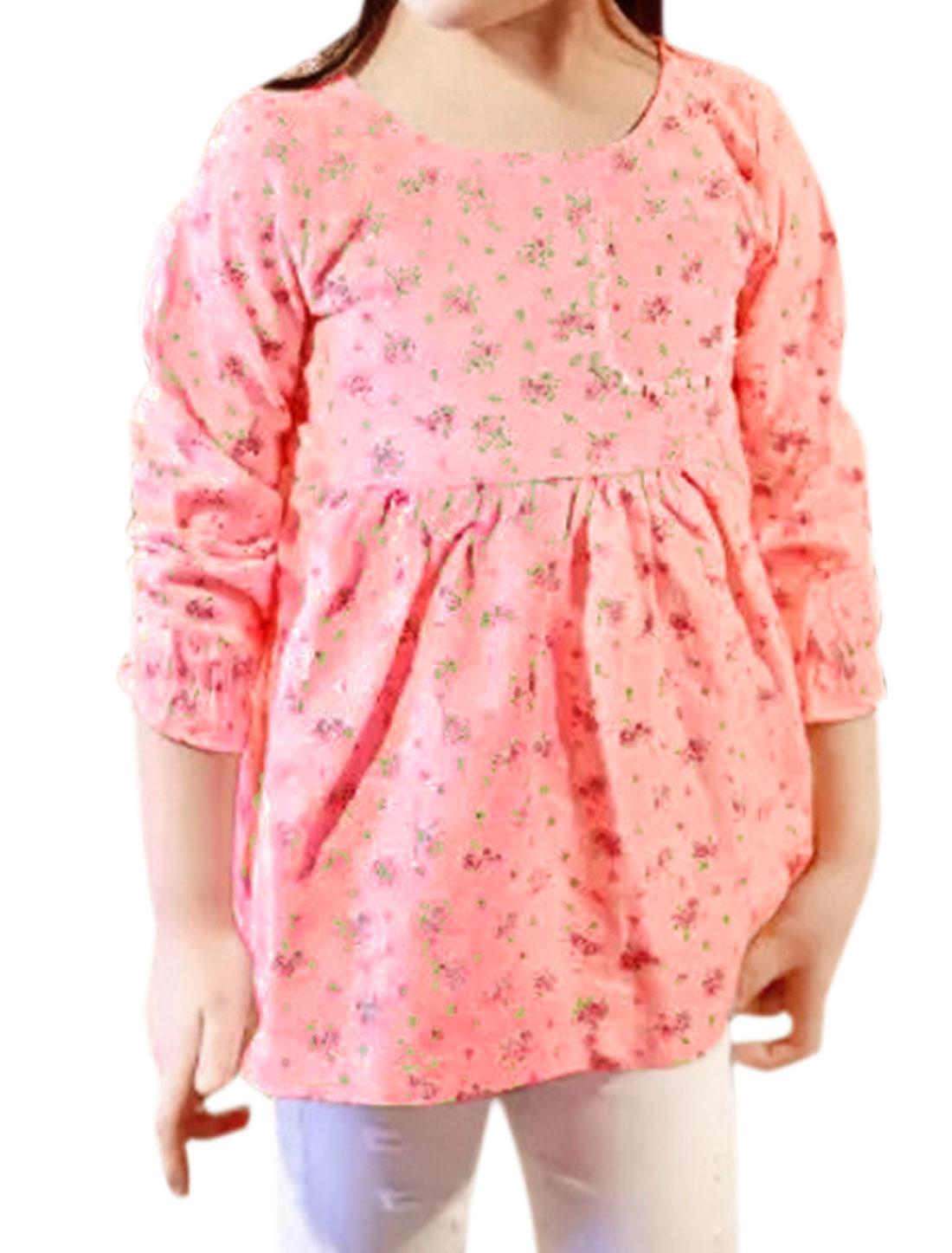 Girls Bust Pocket Ruched Waist Floral Blouse Pink 4T
