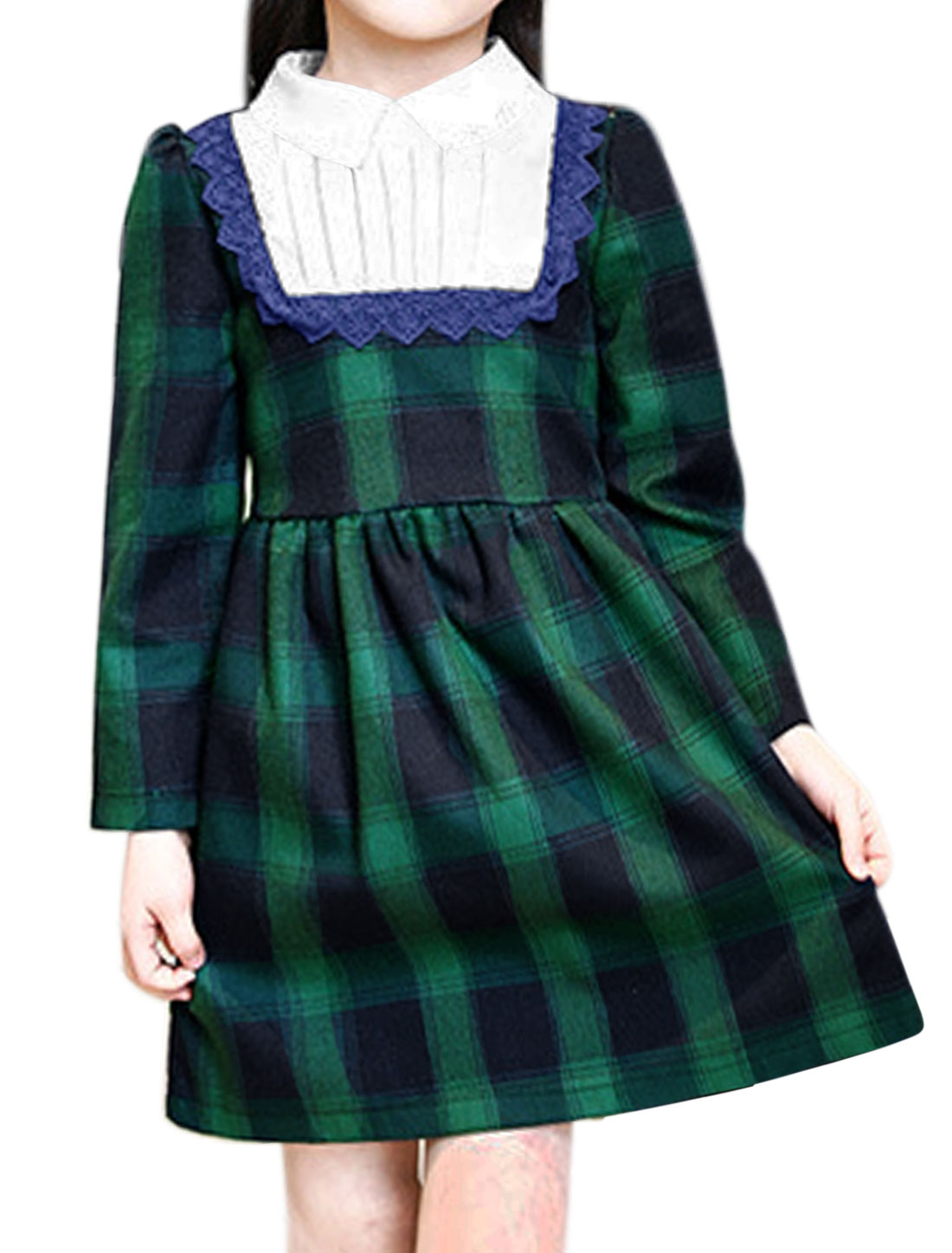 Girl Pleated Detail Lace Panel Plaids Flare Dress Allegra Kids Green 10