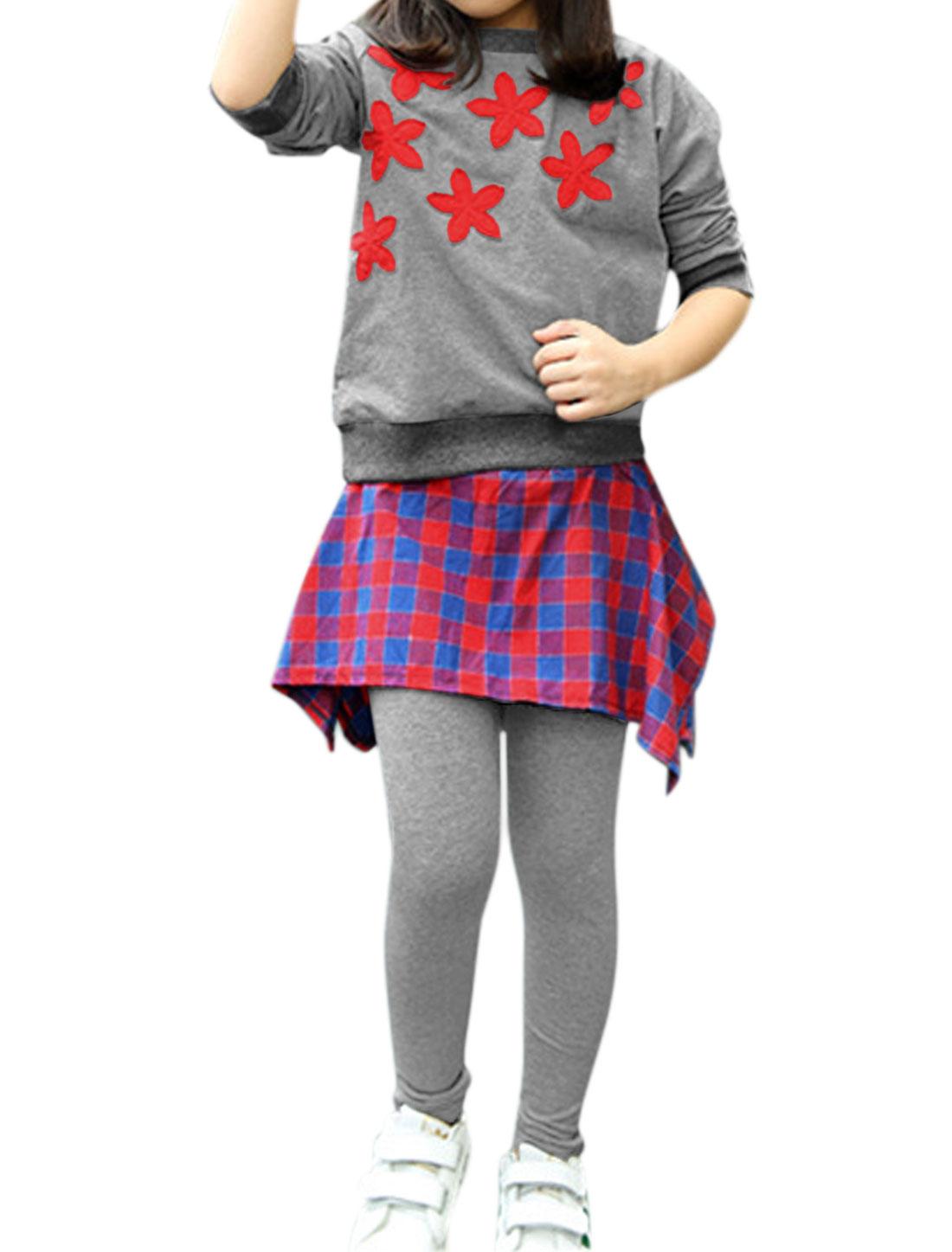 Girls Floral Sweatshirt w Plaids Skirt Leggings Sets Red 6X