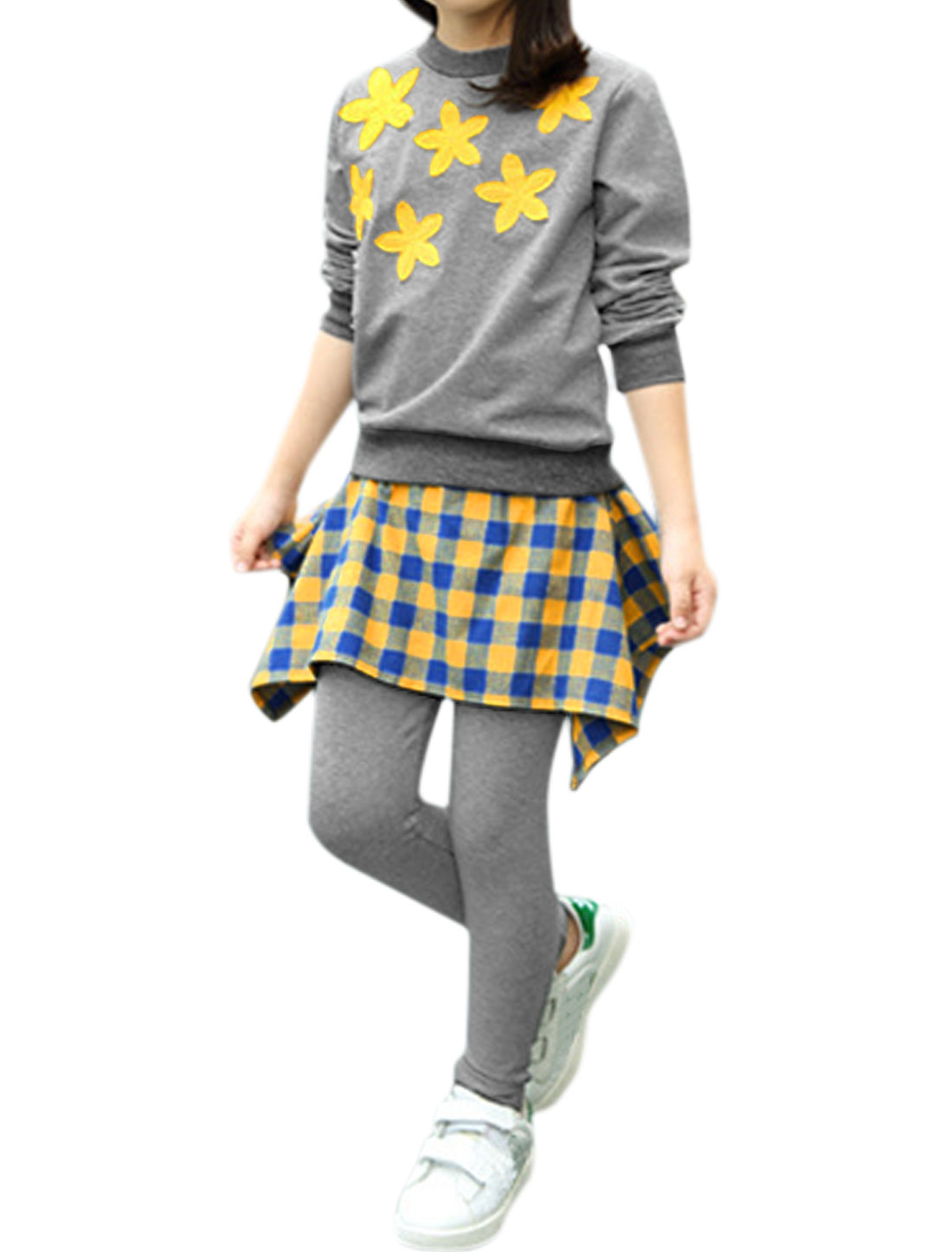 Girls Floral Sweatshirt w Plaids Skirt Leggings Sets Yellow 7