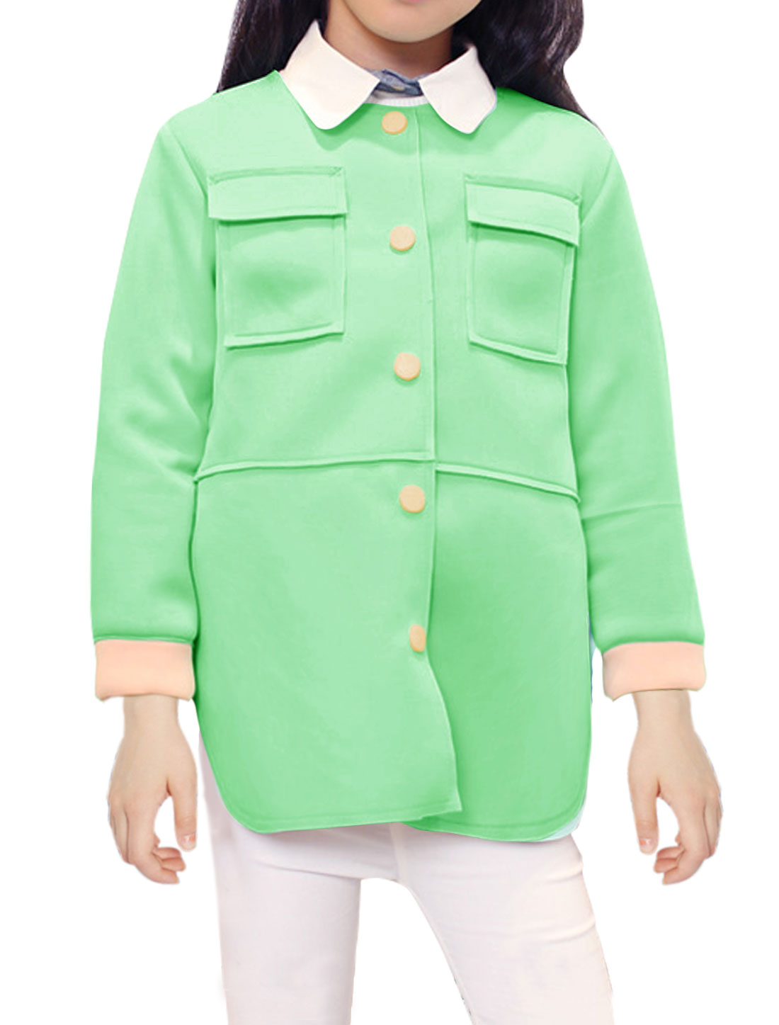 Girls Contrast Color Raw Edge Tunic Coat Allegra Kids Green 16