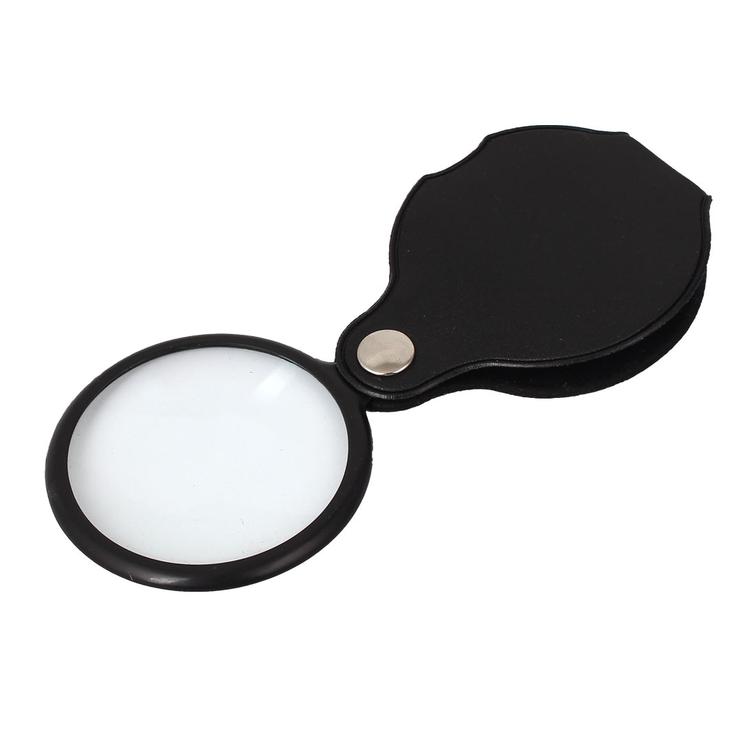 Black Faux Leather Cover Portable 5X Reading Magnifying Lens Loupe Magnifier