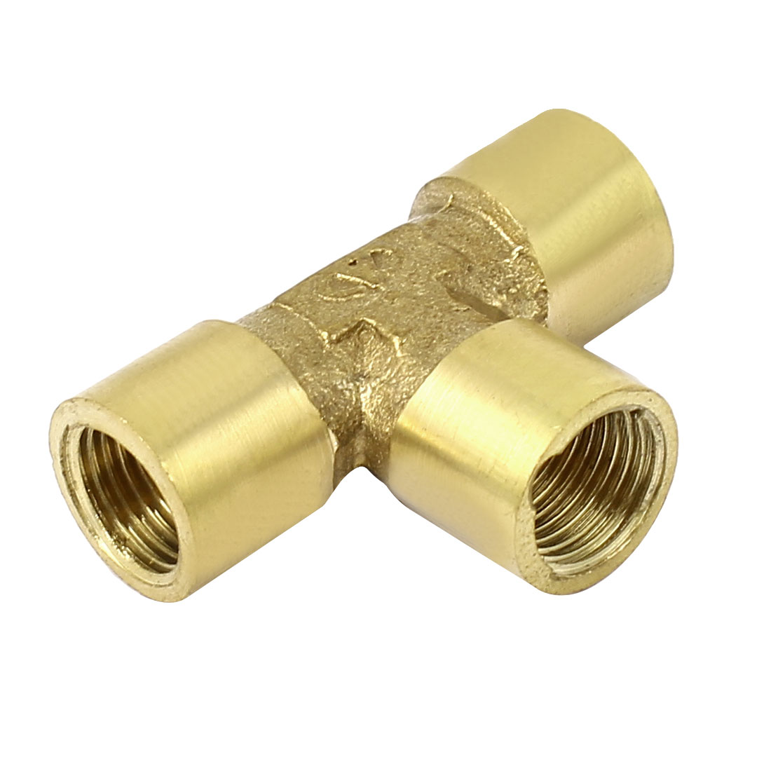 1/8 BSP Female Thread T Shaped Water Fuel Hose Pipe Brass Connector Gold Tone