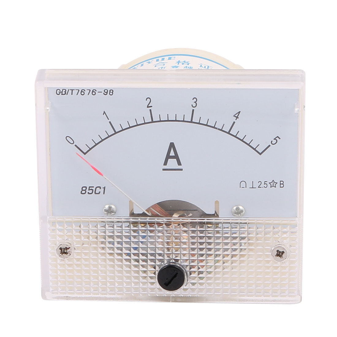DC 0-5A Rectangle Panel Meter Current Analogue Analog Ammeter Tester Gauge White