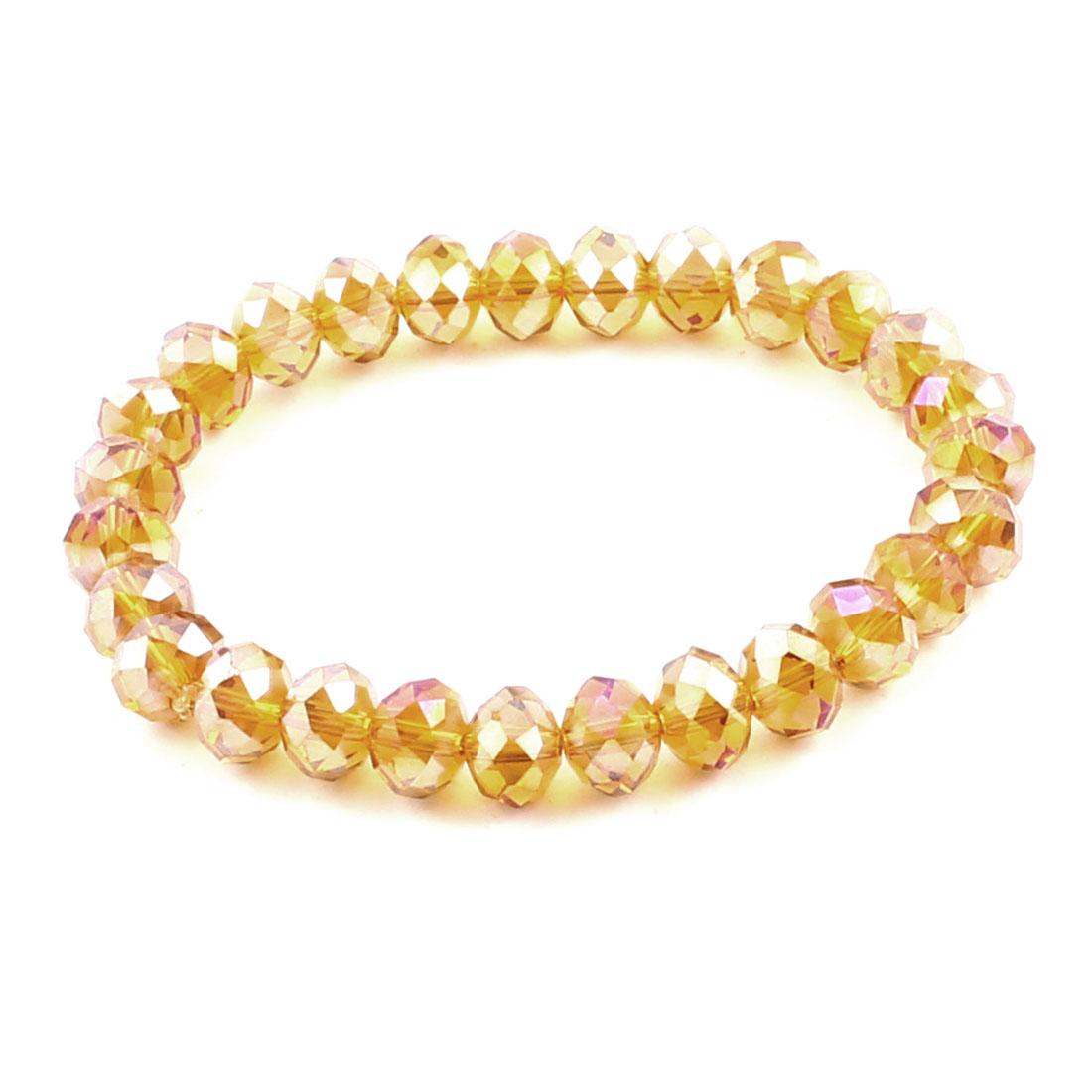 Women Ladies Party Faux Crystal Stretchy Chain Wrist Bracelet Clear Orange