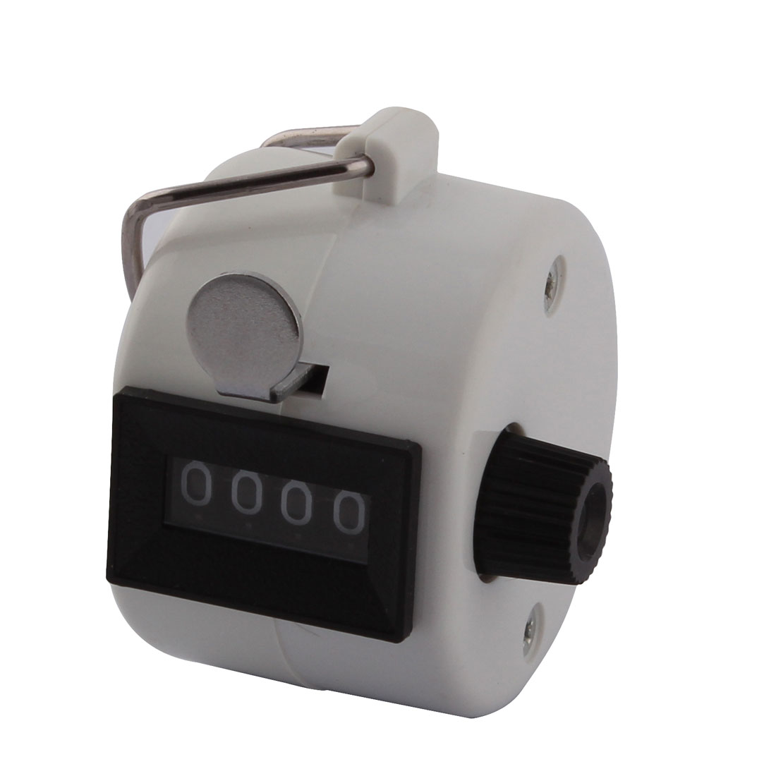 Hand Held 4 Digits Number School Sport Golf Tally Click Palm Counter White