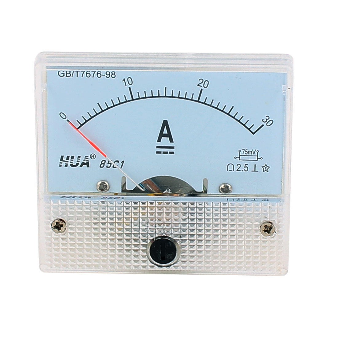 DC 0-30A Class 2.5 Analog Current Rectangle Panel Meter Ammeter Tester Gauge