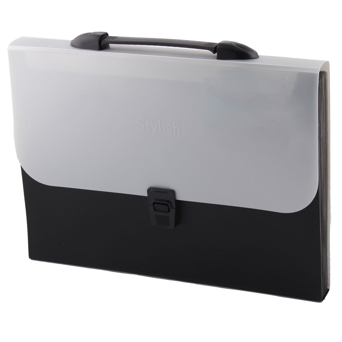 Plastic Release Buckle Office A4 Paper File Document Storage Organizer Holder Bag Gray Black