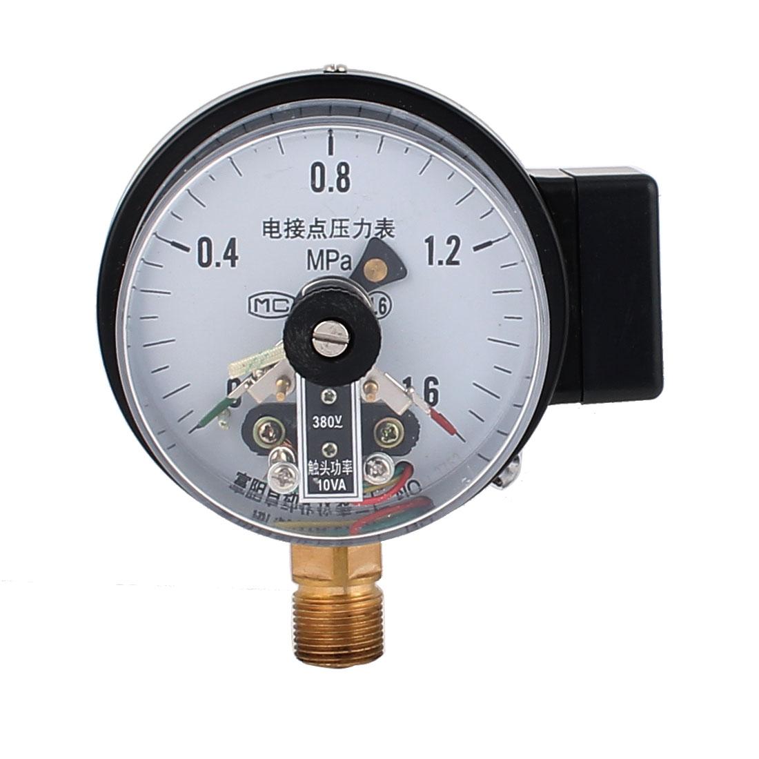 YX-100 380V 10VA 1/2BSP Thread Electric Contact Pressure Gauge 0-1.6 MPa