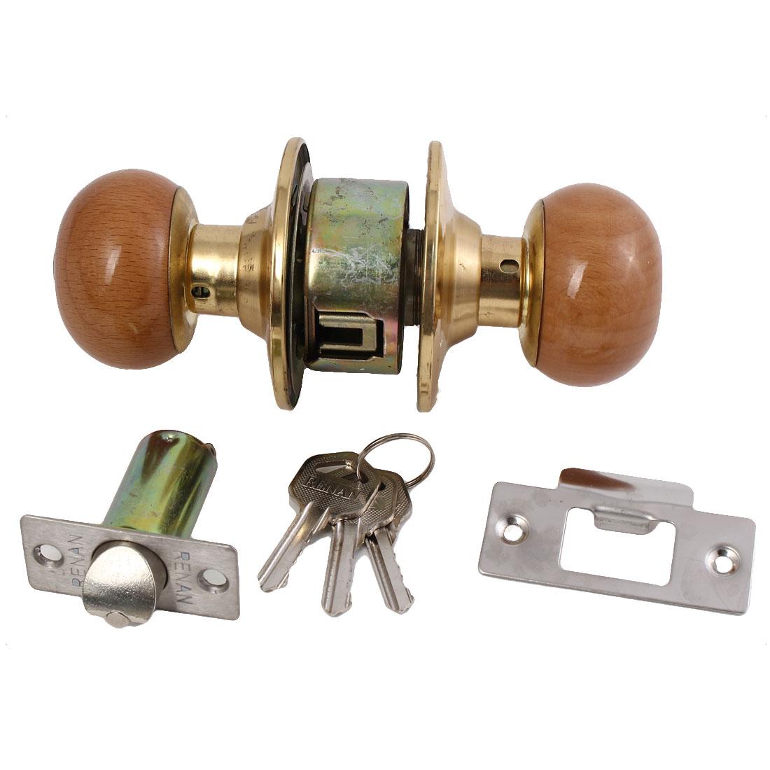 Home Bedroom Bathroom Entry Door Wooden Round Knob Handle Lock Lockset