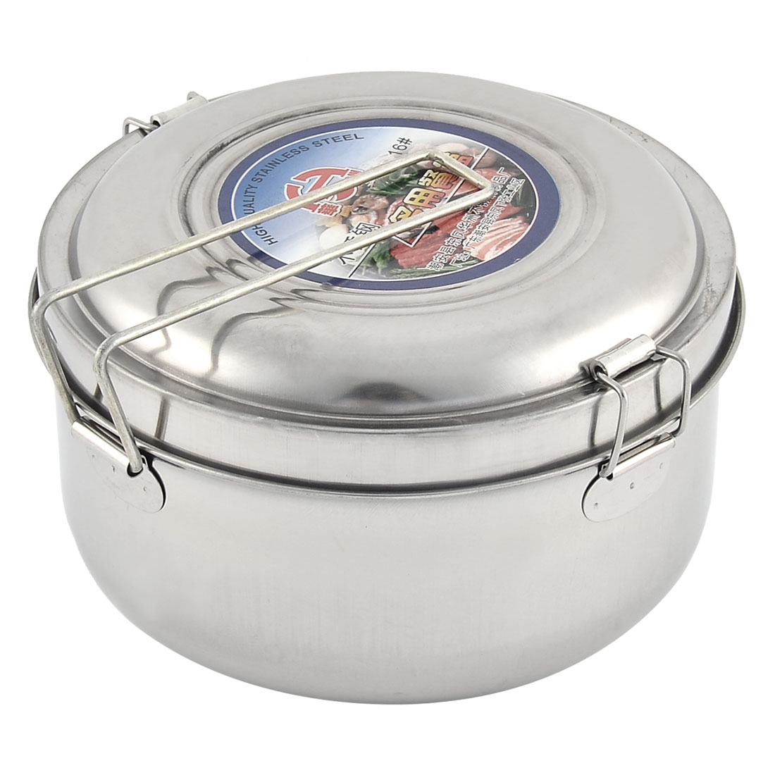 Stainless Steel Round 2 Layers School Lunch Box Food Container Silver Tone