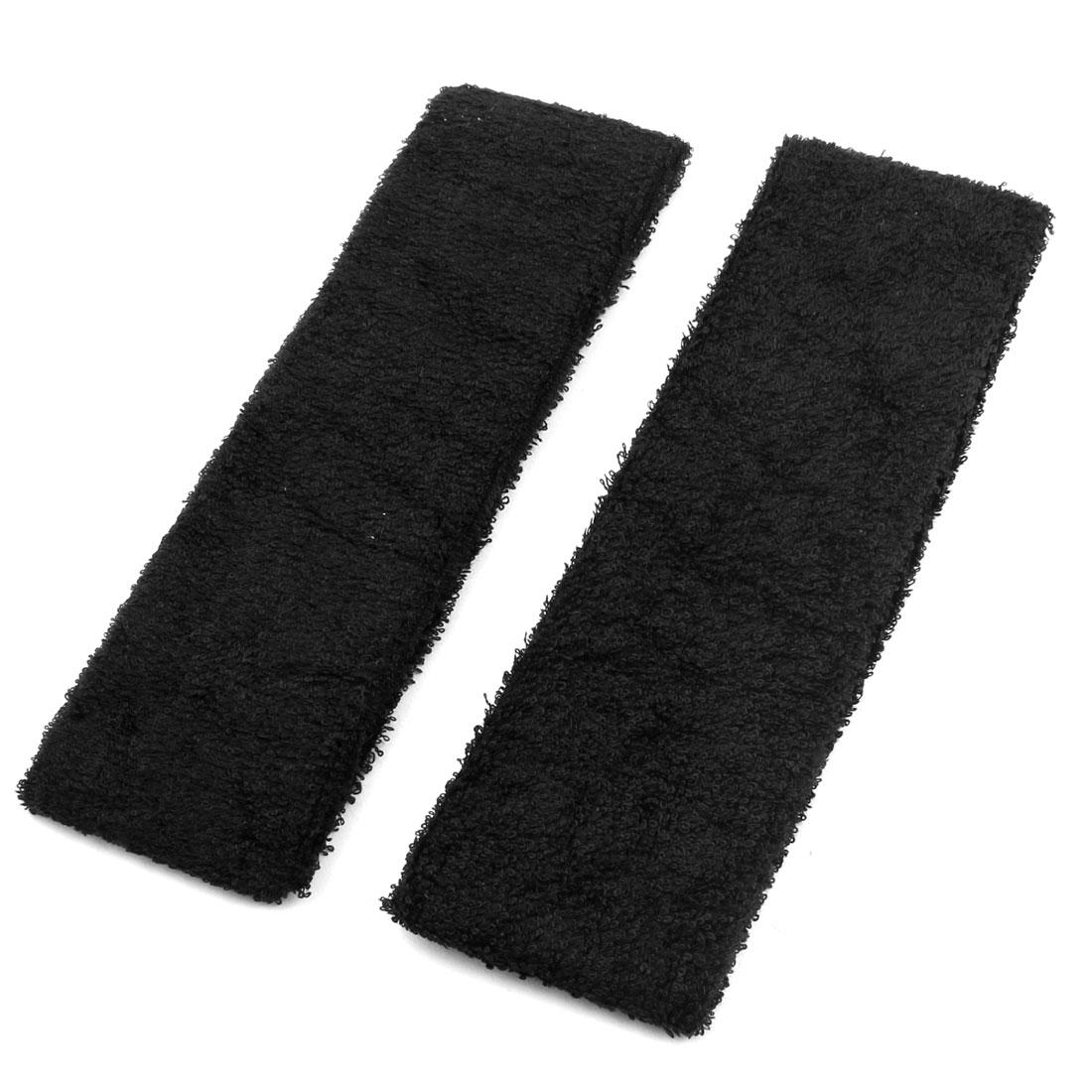 Women Ladies Gym Sports Stretchy Hairband Headband Hair Head Band Black 2pcs
